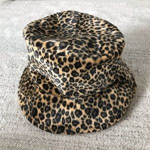 Vintage Leopard faux fur bucket hat